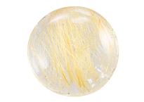 Quartz with golden rutile, cabochon
